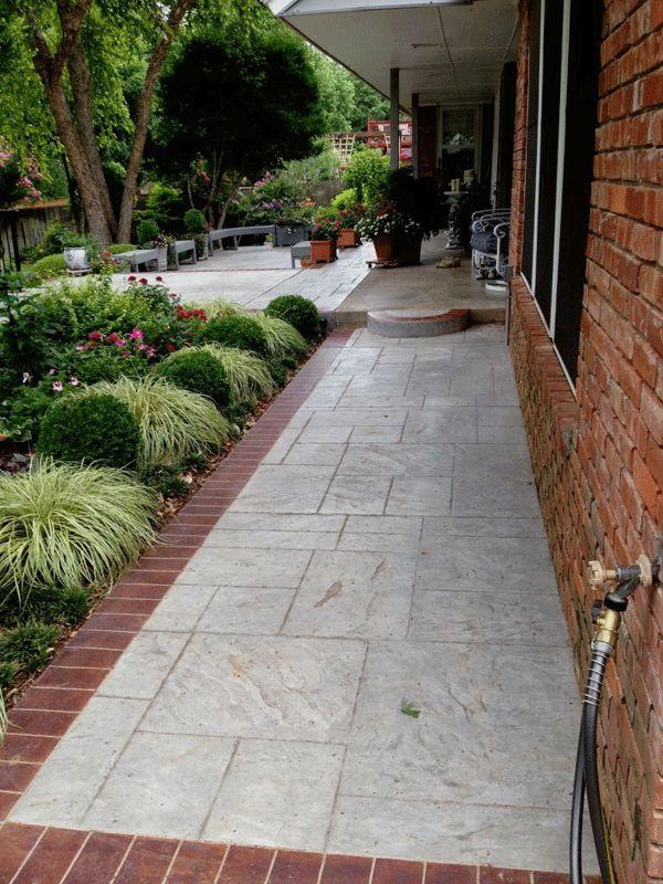 brick sidewalk | Stamped Concrete Sidewalk with Brick Border in Oklahoma City