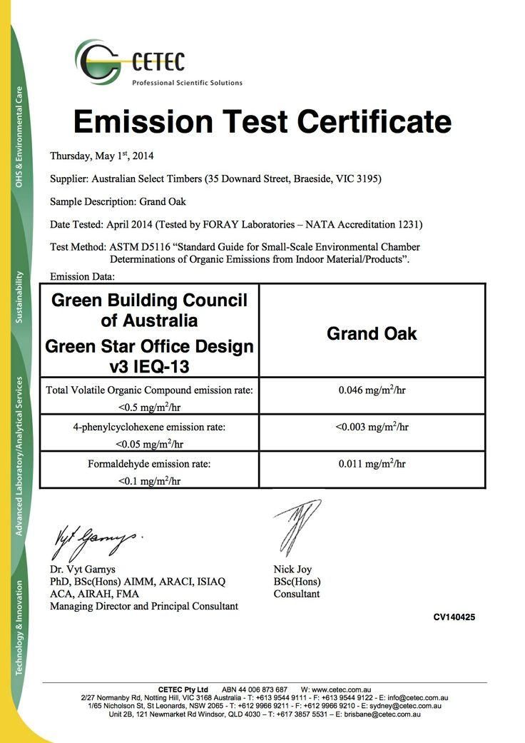 Grand Oak Timber Flooring: Grand Oak Emission Test Certificate