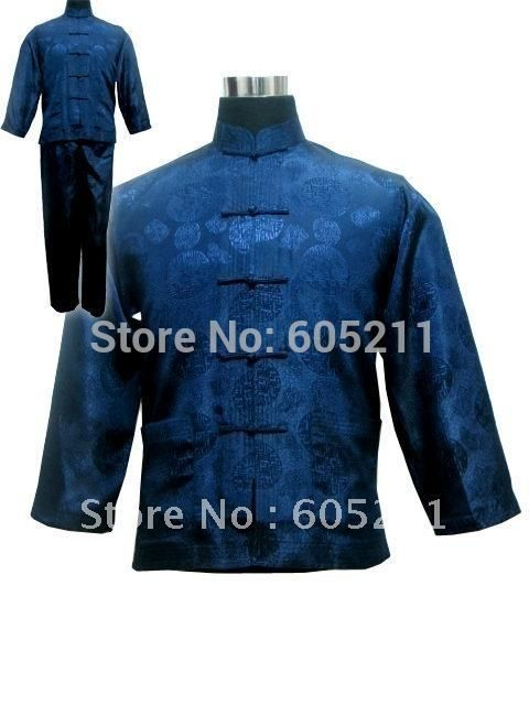 "Wholesale Newfashioned Chinese style A suit of Men's Kimono Robe/Gown Pyjamas Sleepwear Navy blue size S-3XL "" LGD M3020"""