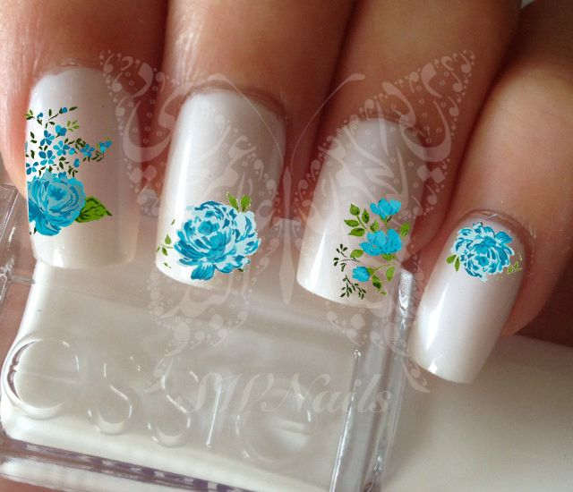 Blue Flowers Nail Art Water Decals Transfers Wraps