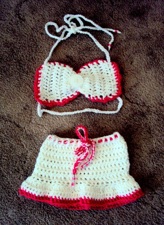 Baby Girls Kids Crochet White Pink Boho Hippie Bikini Top and Skirt Swimwear Festival Beachwear by GrahamsBazaar, $32.99