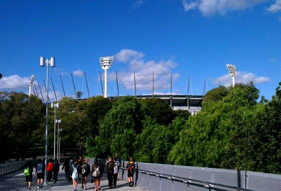 """April 21: not the best picture of the ground I could get, but it's an interesting view. The Melbourne Cricket Ground (MCG), affectionately known as """"The G"""", is the Mecca of sport in Melbourne, and is rich in history of many sports."""