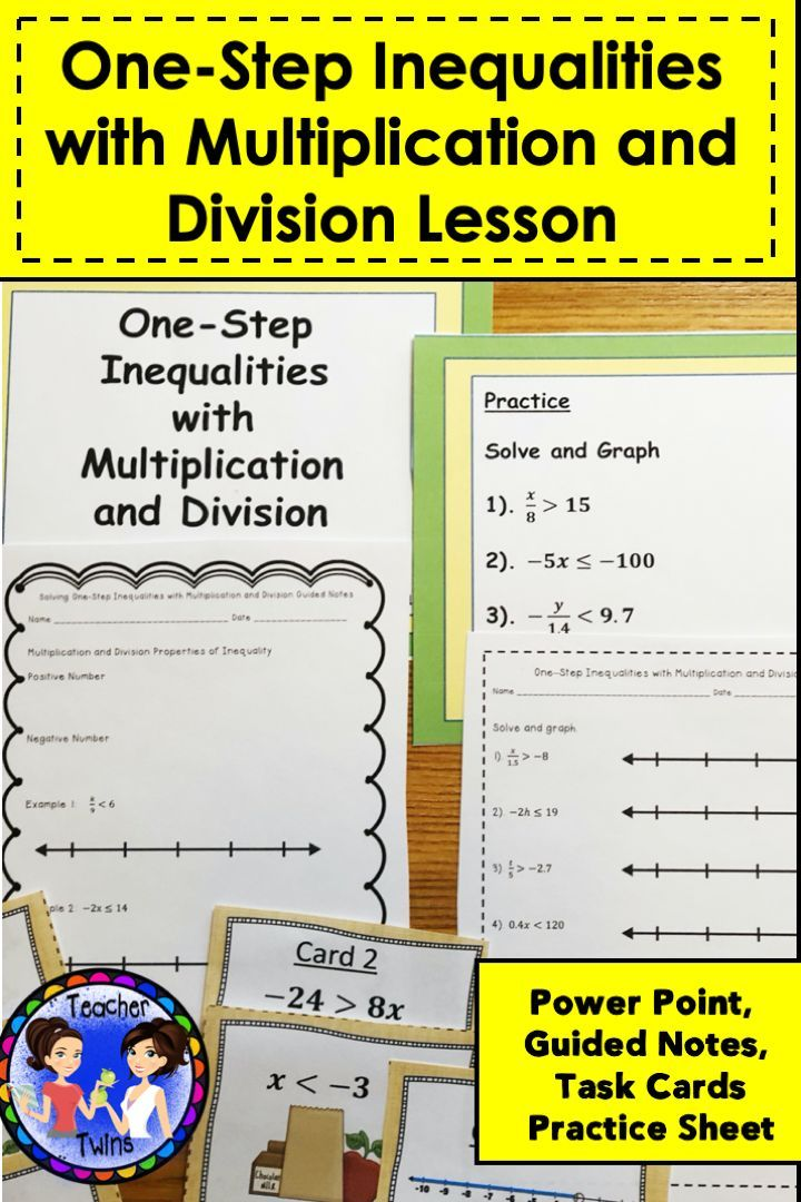 Lesson On One Step Inequalities Pre Algebra Activities Multiplication And Division Inequality