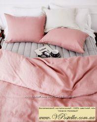 Нежно розовое постельное белье Crema Rosa из цветного льна от производителя
