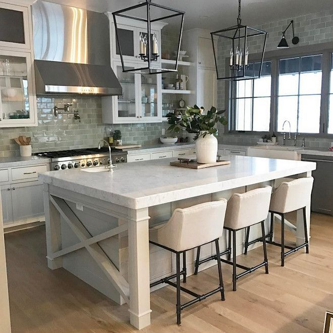 Gorgeous Farmhouse Kitchen Island With X Side And Shiplap And Thick Marble  Countertop. The Backsplash
