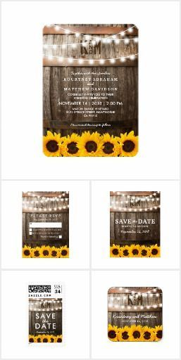 Rustic Country Sunflower Lights Invitation Suite. Great for romantic floral wedding, rustic wedding, country wedding.
