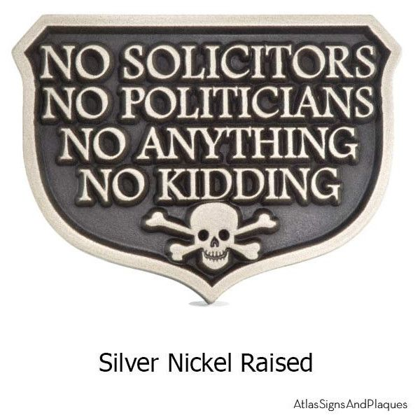 Ready to Ship No Kidding Solicitors Sheild in Silver Nickel Finish... ($80) ❤ liked on Polyvore featuring home, outdoors, outdoor decor, home & living, outdoor & gardening, silver, garden decor, outside signs, outdoor signs and outdoor patio decor