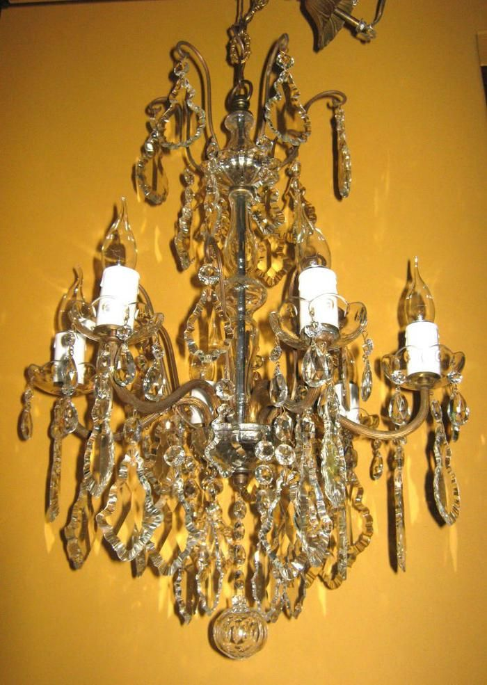 Antique French six light crystal chandelier