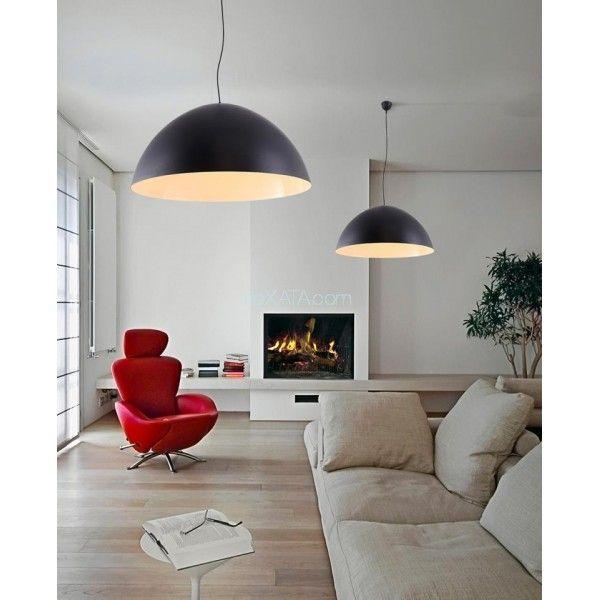 Лампы потолочные в стиле ЛОФТ. Классические черные полусферы