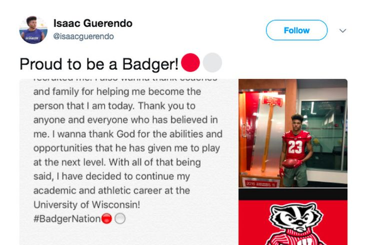Wisconsin football recruiting: WR/ATH Isaac Guerendo commits to Badgers