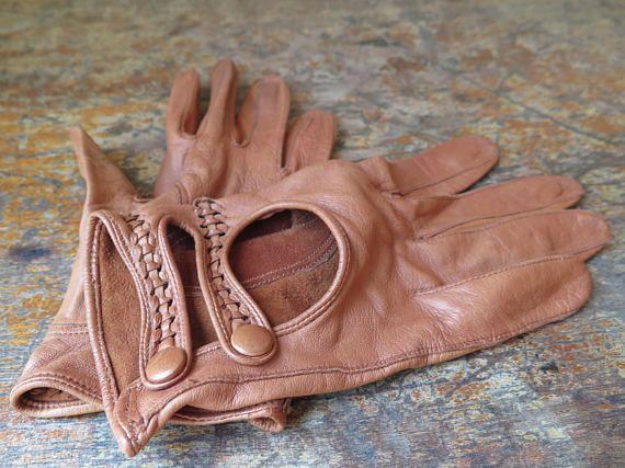 Gants Vintage cuire brun femme féminin petit leather brown cloves