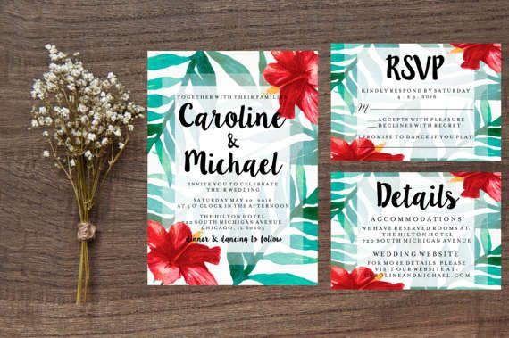 Printable Hawaiian Wedding Invitation, Tropical Watercolor Hibiscus Flower Suite Summer Palm Leaves Digital Print RSVP Details Card Template