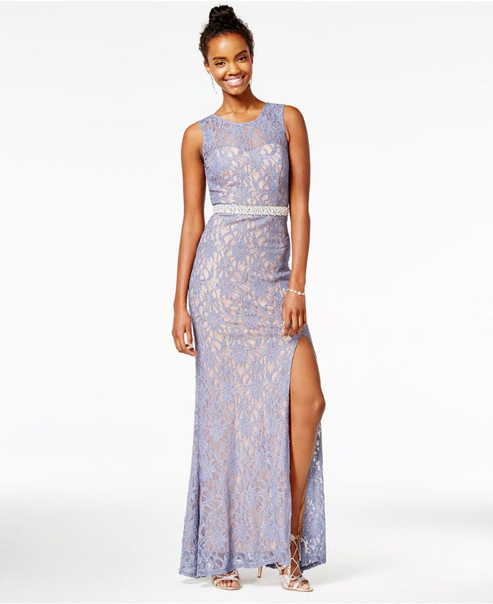 City Studios Juniors' Embellished Lace A-Line Gown, A Macy's Exclusive