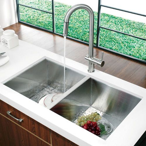Square Double Bowl Stainless Steel Kitchen Sink Undermount Topmount