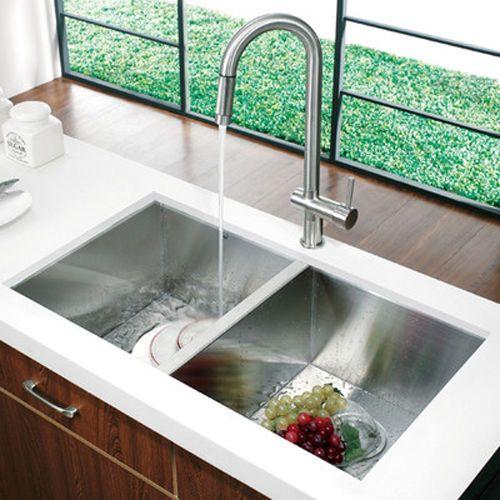 SQUARE Double Bowl Stainless Steel Kitchen Sink Undermount/Topmount