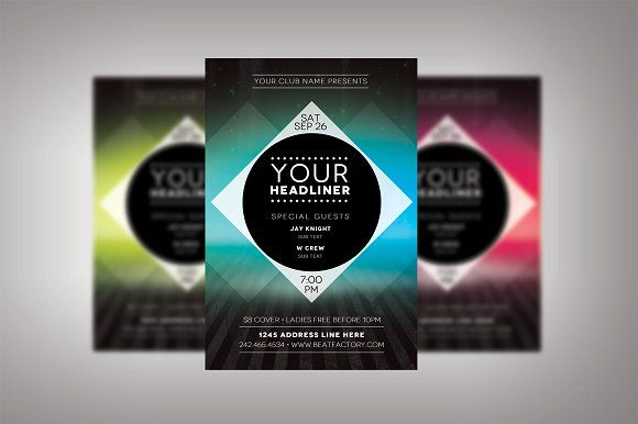 Futuristic Club Flyer by Nathan Knight Design on @creativemarket