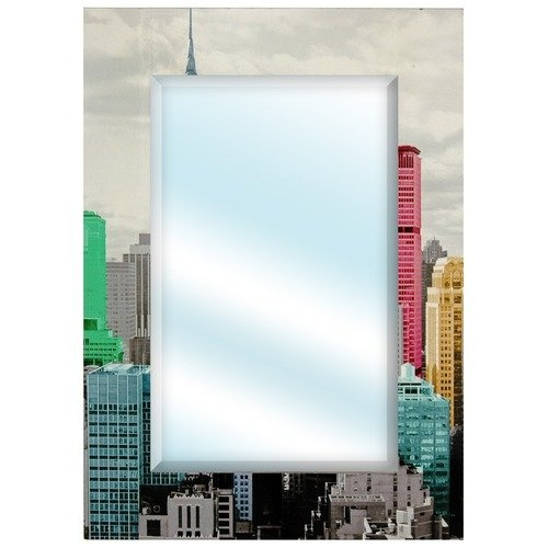 Oriental Furniture Colorful New York City Wall Mirror in Black and White