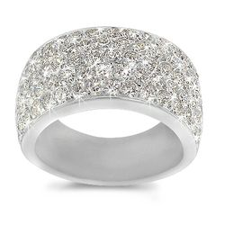 This pave band is set with eighty-nine brilliant, round diamonds totaling to 2.75 carats. The width of this ring is 10mm. This setting is available in 18K White Gold, 18K Yellow Gold or Platinum, each