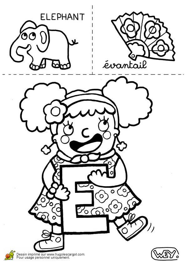Lettre E Elephant Evantail, page 5 sur 26 sur HugoLescargot.com
