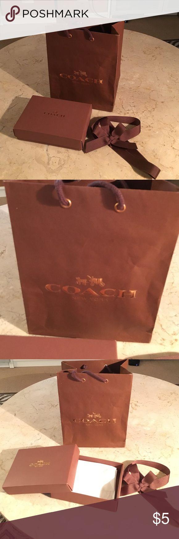 "Coach shopping bag, box and bow Coach shopping bag (7.75""w x 9.75""h x 4.75""d) box (7"" x 4.75"" x 1.75""h) and bow Coach Other"