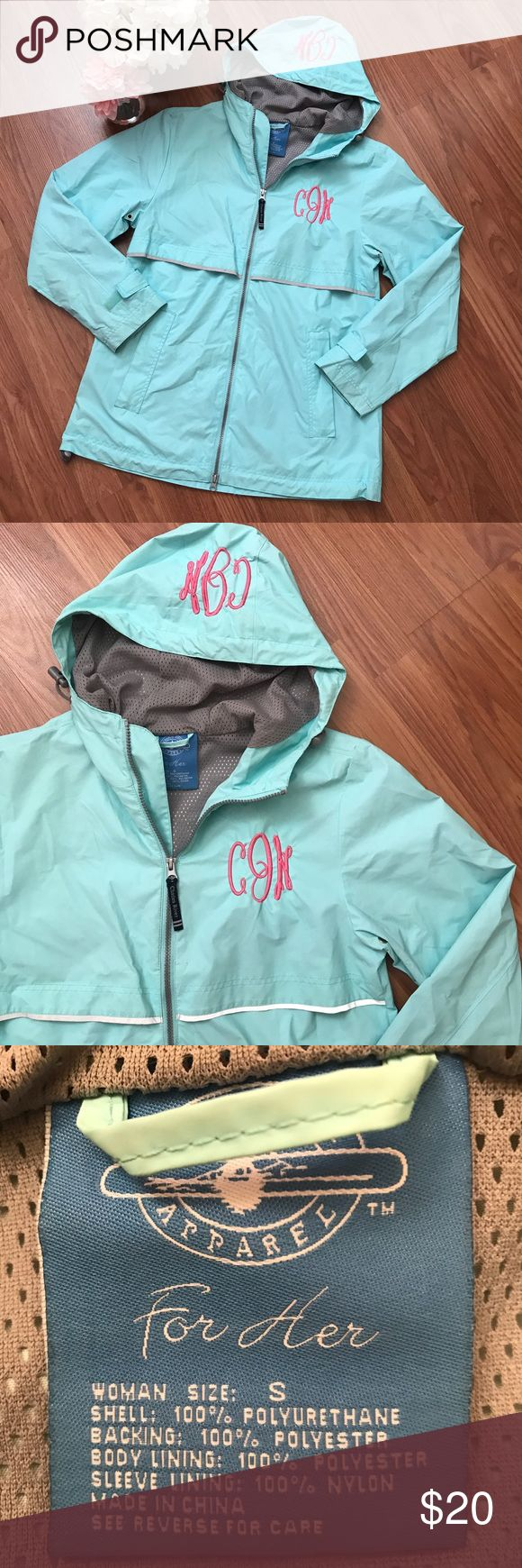 Monogrammed Turquoise Blue Rain Jacket (CJN) This is a super cute custom monogrammed rain jacket with with initials CJN. Perfect for anyone with the initials CJN or who doesn't mind having other initials on their jacket. The rain coat has the embroidered pink monogram on the chest and hood. This rain coat is in excellent condition and is great quality. No trades. Please feel free to ask any questions! Charles River Jackets & Coats