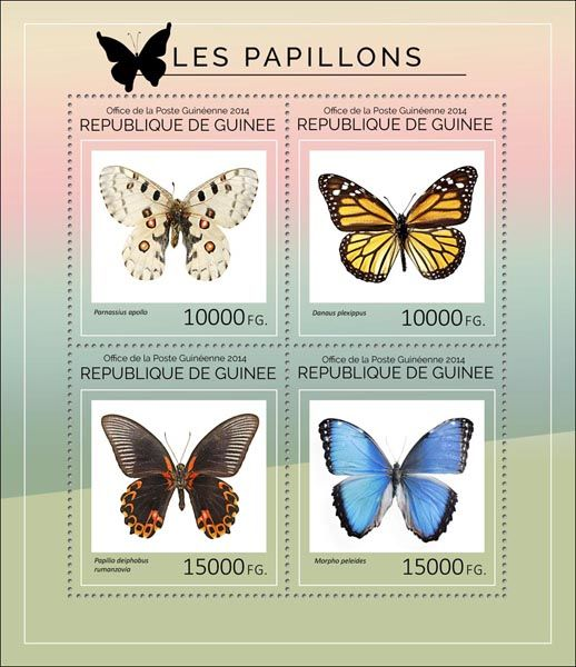 Post stamp Guinea GU 14404 aButterflies (Parnassius apollo, {…}, Morpho peleides)