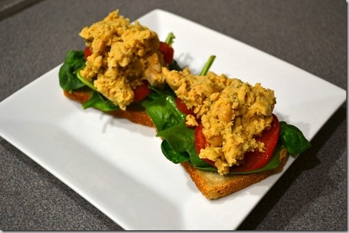 Smashed Chickpea open face sandwich from Athlete's Plate.
