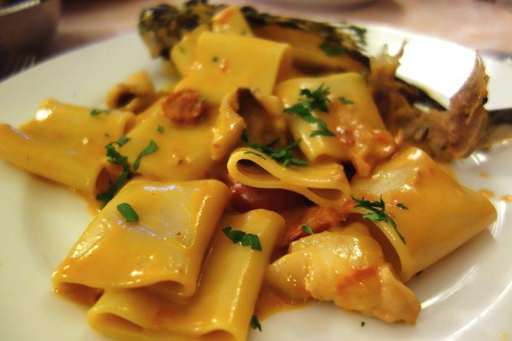 Paccheri pasta with redfish (scorfano) and tomato at Settimio in Rome