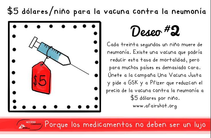 #Deseos2016 Queremos que en 2016 GSK y Pfizer bajen el precio de la vacuna contra la neumonía a $5 USD por niño para poder salvar más vidas. www.afairshot.org