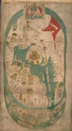 Evesham World Map marks the birth of Modern English patriotism c1400. Showing Garden of Eden at the top and Tower Babel below