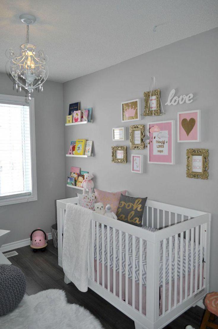Babyzimmer Grau Rosa Weiss Bild Wand Goldene Akzente Decoracioncuartoprincesa Rosa Madchen Zimmer Madchenzimmer Babyzimmer