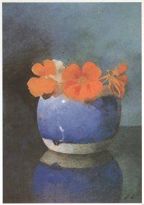 Jan Voerman - Oost-Indische kers in blauwe gemberpot - A6918 - Postcard