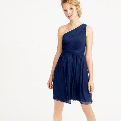 "Sheer perfection in whispery-soft crinkled silk chiffon, this modern one-shoulder silhouette is balanced with a flouncy party-perfect skirt. <ul><li>A-line silhouette.</li><li>Fitted bodice.</li><li>Falls above knee, 38"" from high point of shoulder (based on size 6).</li><li>Silk chiffon.</li><li>Side zip.</li><li>Lined.</li><li>Dry clean.</li><li>Import.</li><li>Online only.</li></ul>"