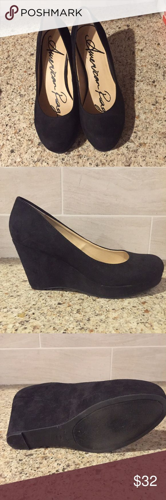 AMERICAN RAG suede wedges Perfect condition American Rag black suede wedges. No scuffs. Size 7. Closed toe. American Rag Shoes Wedges
