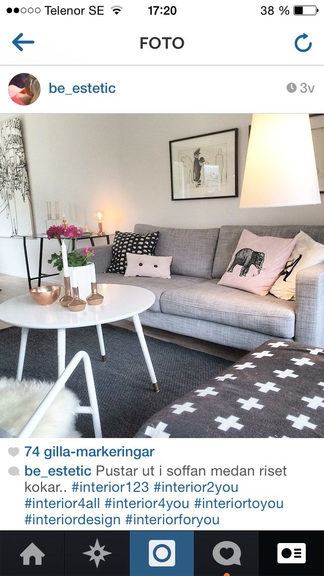 Vardagsrum, soffa från IKEA, filt från Pia Wallén, kudde från Svenskt Tenn
