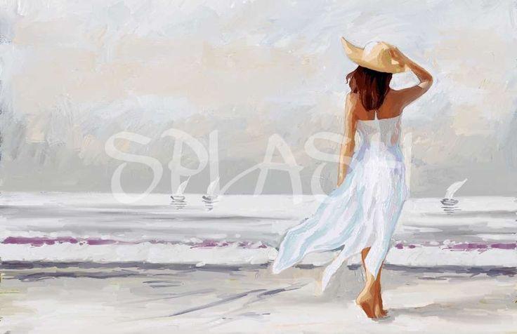 cuadro de mujer con sombrero en la playa SP029