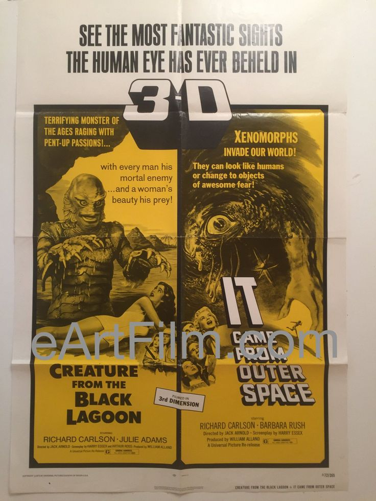 Happy Birthday #RichardCarlson https://eartfilm.com/search?q=richard+carlson #actors #acting #scifi #sciencefiction #TheValleyofGwangi #ItCameFromOuterSpace #Film #cinema #movie #movieposters #posters    Creature From The Black Lagoon-It Came From Outer Space-R72-27x41-Sci-Fi