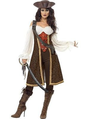 Piratin Kostüm Mantel Gewand Pirat Damen Kostüm Kleid