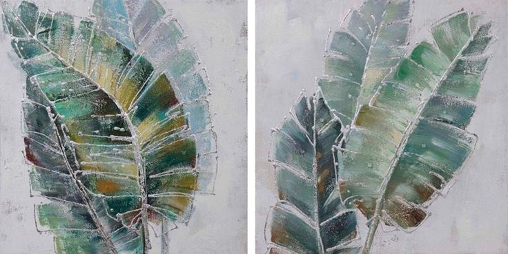 Set 2 Banana Palms Oil Painting on Canvas Wall Art $449.95