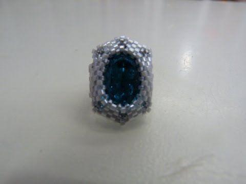 Tutorial anillo slot  rocalla, delica y cabuchon 13x18 (diseño Vyolina)