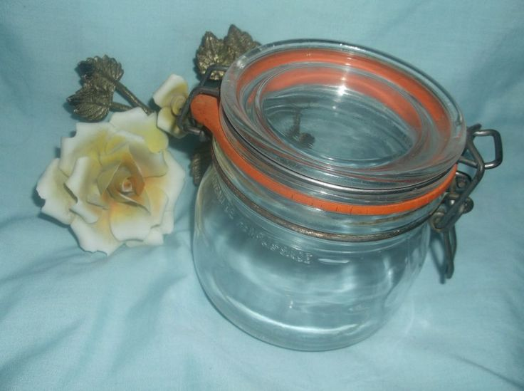 $1.99 1/2 Liter Clear Vintage Glass Jar with Bail Glass Hinge Lid No Chips or Cracks