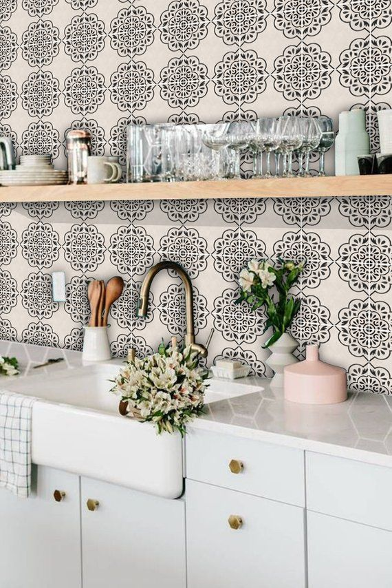 Kitchen And Bathroom Splashback Removable Vinyl Wallpaper