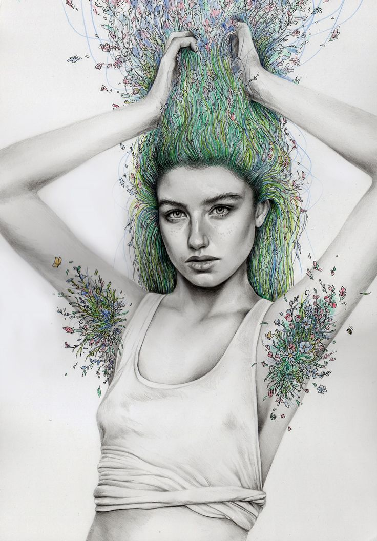 """laughing-treees:  katelouisepowell:  Here's my latest drawing, """"Natural Girl"""" - I've had this idea for a while and I'm happy to have finally drawn it. I just wanted to make the point that body hair is as natural as the hair on our heads, and although it's okay to find body hair unattractive, it is NOT okay to shame or shun people, or respond publicly with """"eww"""" just because somebody doesn't shave.I have so many strong feelings about this! I feel angry that it's such a big deal when women…"""
