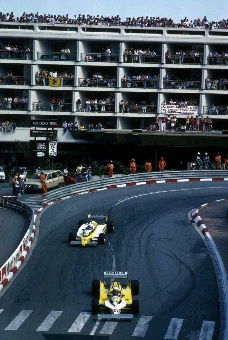 Alain Prost & Rene Arnoux, Renault,  Monaco GP, 1981.