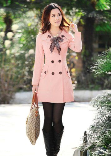 New Women's Fashion Double-breasted Long Trench Jacket Scarf Coat Winter (M, pink)