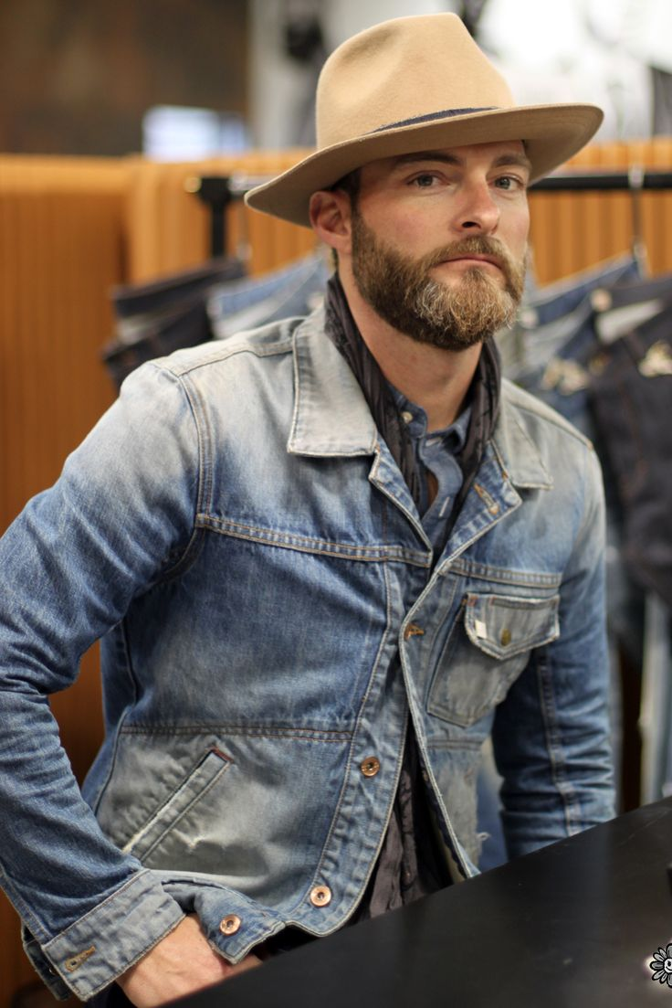 Faded Denim Jacket and Wide Brim Straw Hat. Men's Spring Summer Fashion.