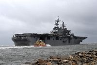 161005-N-JX484-099  JACKSONVILLE, Fla. (Oct. 5, 2016) Amphibious assault ship USS Iwo Jima (LHD 7) departs Naval Station Mayport in preparation of Hurricane Matthew's arrival onto Florida's eastern coast. (U.S. Navy photo by Petty Officer 2nd Class Mark Andrew Hays/Released)