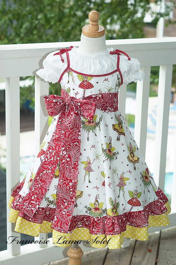 Custom holiday christmas birthday party flower girl twirl dress - Winter Fairies - French European children's couture clothes