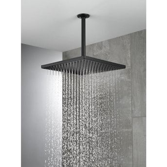 Delta Matte Black 1-Spray Rain Shower Head in the Shower Heads department at Lowes.com