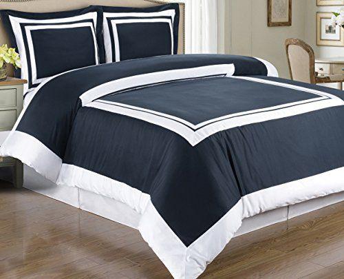 Hotel Modern Navy Blue White Framed Bedding Duvet Cover